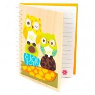 Fa borítós notesz, baglyos 3909-A