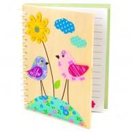 Fa borítós notesz, madárkás 3909-B